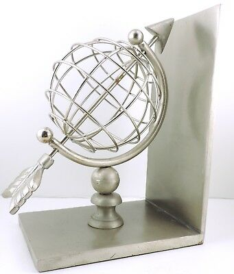 Borders Books Bookends Platinum Globe Arrow set of 2 NEW