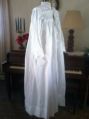 Vintage Antique 1800's GORGEOUS ready to wear Lace Fine Cotton BED Night GOWN 34