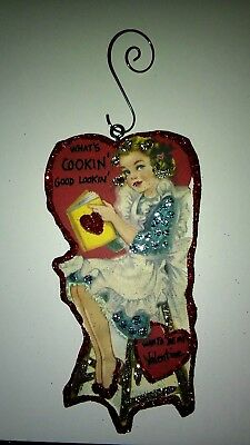 Vintage Valentine's Day  Card Glitter Wood Ornament Whats Cookin Good Lookin