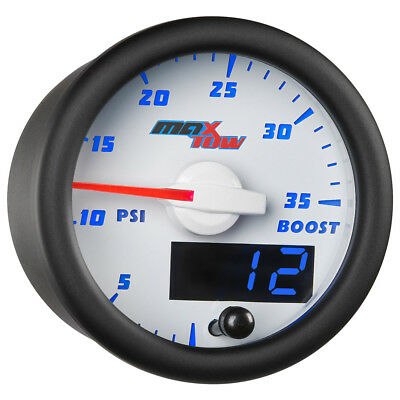 52mm White & Blue MaxTow Double Vision 35 PSI Boost Gauge - MT-WBDV01_35