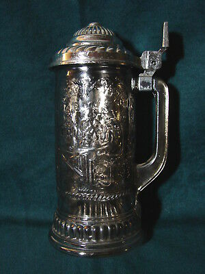 Fabulous Vintage Avon Heavy Silver Metal Overlay on Glass Lidded Beer Stein
