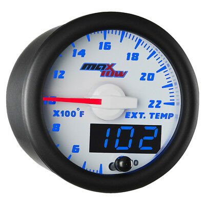 52mm White & Blue MaxTow Double Vision 2200 F Exhaust Gas Temp Gauge - MT-WBDV08