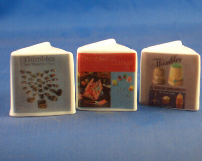 Fine China Thimbles - Set Of Three Miniature Book Style -  Thimble Collecting
