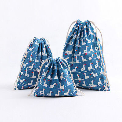 Blue Cotton Linen Drawstring Multi-purpose Pouch Party Gift Bag Print Duck 81 B#