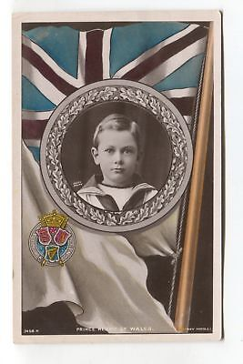 Prince Henry of Wales & British flag - old real photo postcard