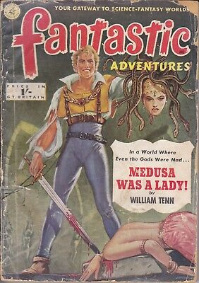 1951 Pulp FANTASTIC ADVENTURES Science Fiction Ziff-Davis - Only £3.99 Postfree