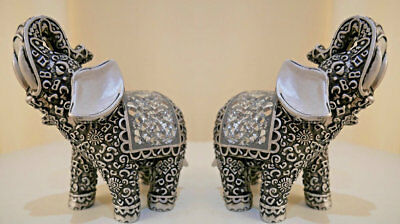 Pair Of Silver Mosaic Mirror Lucky Buddha Elephant Ornaments Gift Set Figurines