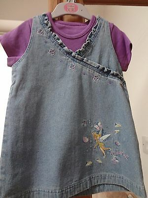Ex M&S Tinker Bell Pinafore & Tee Shirt. Set 18 to 24 months New.