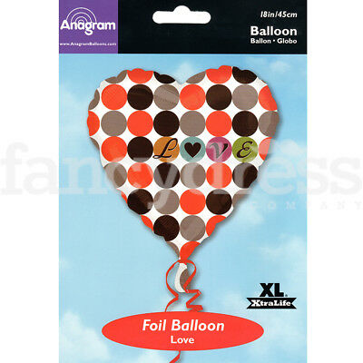 "18"" Foil Balloon Love Heart Valentine Wedding Engagement Air/Helium Fill NEW"