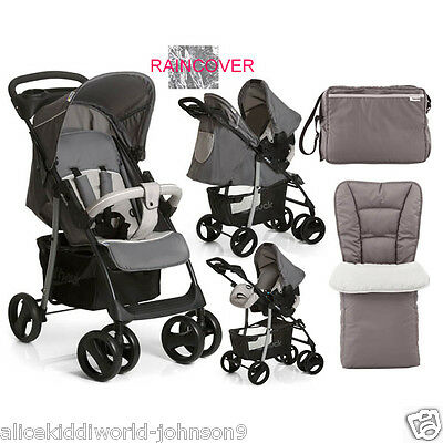 NEW Hauck Shopper SLX Pushchair Pram Travel System shop n drive set Stone/Grey