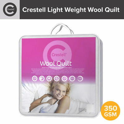 Crestell Wool Doona / Quilt 350gsm 100% Cotton Casing Light Weight Single/Double
