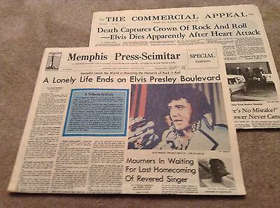ELVIS Presley Day After Death Newspapers: Memphis Press & The Commercial Appeal