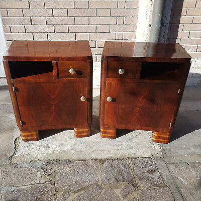 Nice Couple Of Bedside Tables Art Deco Walnut Veneered Original From 1930