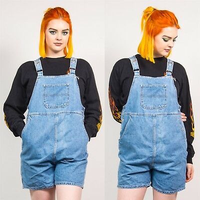 Maternity Blue Denim Vintage Short Dungarees 90's Romper Playsuit Strappy 12