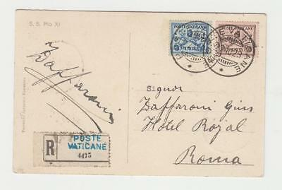 VATICAN -ROME 1929  REG. CARD L1.40c RATE (UNDERPAID BUT ALLOWED) (SEE BELOW)