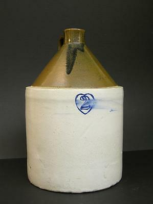 Late 19th to Early 20th C Burley Winter 2 in Heart Two Gallon Stoneware Jug