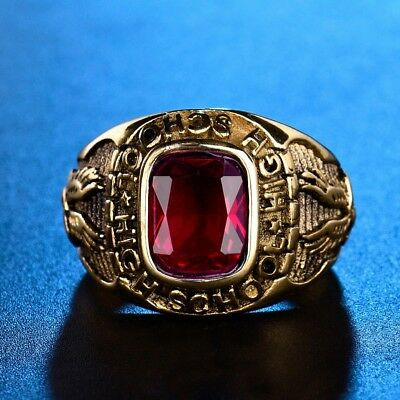 Mens Gold Stainless Steel Princess Red Garnet Celtic Rings Vintage Wedding Band
