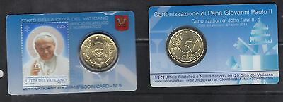 Vatican 2014 Canonization of Pope John Paul II Stamp and Coin Card
