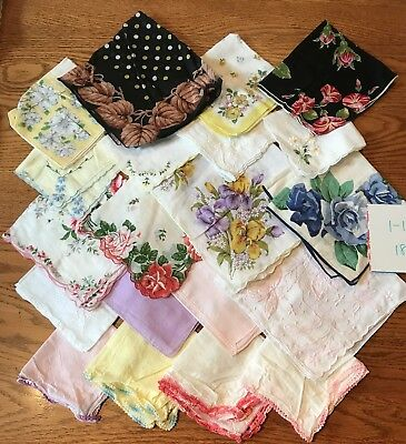 20 Charming Vintage  Hankies Lace Trim Screen Print Embroidery Appliques 1/18-18