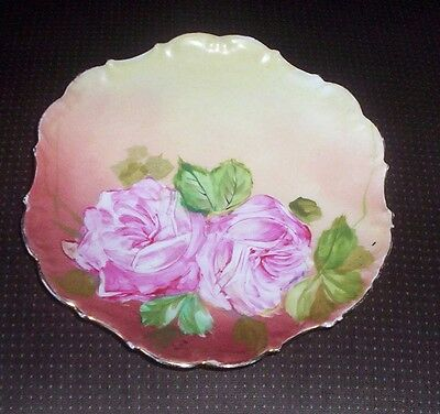 "9.5"" Limoges France Pink Floral Collector Plate - LDBC Flambeau Hand Painted"