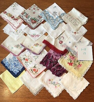 20 Charming Vintage  Hankies Lace Trim Screen Print Hand Embroidery 1/18-17