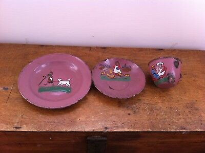 Lovely Unusual Vintage Enamel Ware Childs Trio - Plate Cup & Saucer