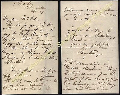 1841 SIR HARRY VERNEY letter from 5, Park Lane, London re Letting Manor & Houses