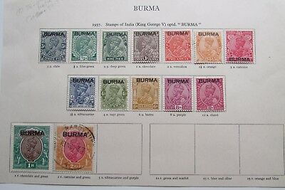 XL3035: 1937 Burma Stamps to 2 Rupees.