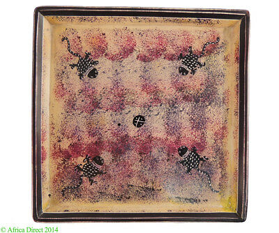 Stone Plate Kisii Lizards Square Kenya African 8 Inch