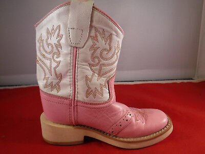 2744a3e8968 FC1 OLD WEST Toddler Girls' Size 7.5 White Pink Cowgirl Boot Western Cowboy