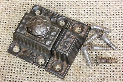 """small Cabinet catch jelly Cupboard Latch cast iron knob old 1 5/8"""" rustic 1880's"""