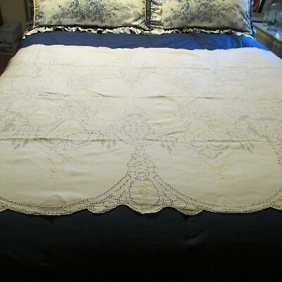 Vintage Linen Tablecloth & Napkins Cutwork Embroidery Scalloped Edges