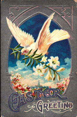 Postcard Easter Greetings Dove embossed Lily Series 1910 Postmark