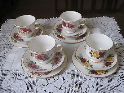 Four Vintage Queen Anne Floral Trios ~ Same Shape & Design  ~ Different Roses