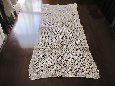 Lovely Hand Worked Deep Cream Crochet Lace Table Runner