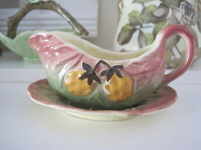 Vintage Shorter And Son Fruits Embossed Sauce Jug With Undertray
