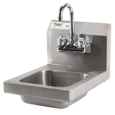 """12"""" x 16"""" Wall Mounted Commercial Stainless Steel Sink Gooseneck Faucet Combo"""