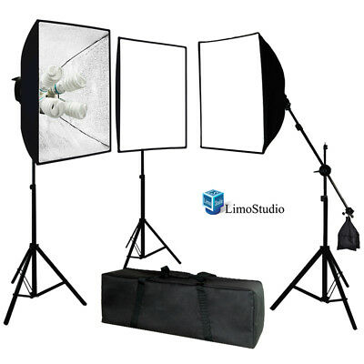 LimoStudio Photo Studio 3 Softbox Light Stand Continuous Lighting Kit 2400W