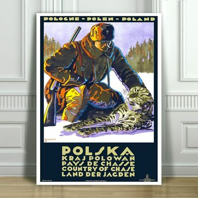 """VINTAGE TRAVEL CANVAS ART PRINT POSTER - Hunting in Poland -12x8"""""""