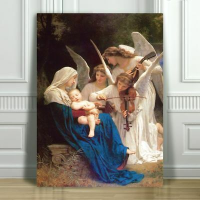 """WILLIAM BOUGUEREAU - Song of the Angels - CANVAS ART PRINT POSTER - 12x8"""""""