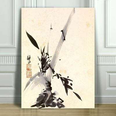 Beautiful Japanese Bamboo & Kanji - CANVAS ART PRINT POSTER -12x8""