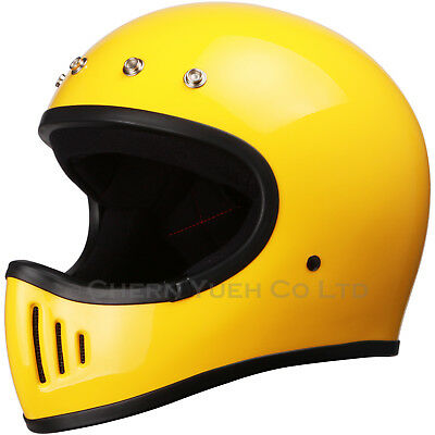 Vintage Full Face Motorcycle Helmet Yellow DOT Size Opt With Visor