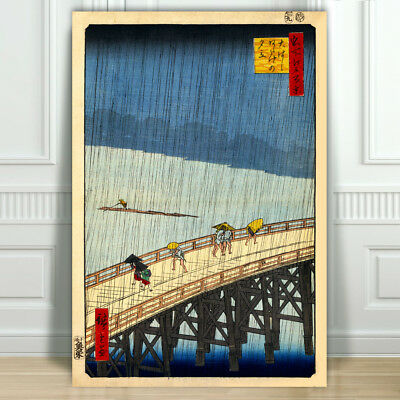 Japanese ANDO HIROSHIGE - Sudden Shower - CANVAS ART PRINT POSTER - 12x8""