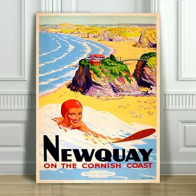 Newquay cornwall uk Vintage painting art Travel Poster Print Framed Canvas