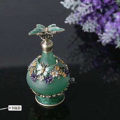 Vintage Metal Green Crystal Empty Perfume Bottle Refillable Wedding Decor Gift