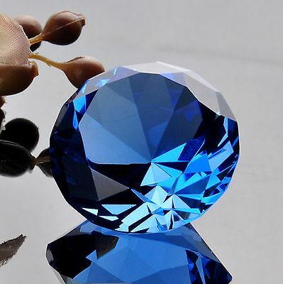 Crystal Blue Cut Glass Diamond Paperweight Jewel Collectibles Wedding Gifts 40mm