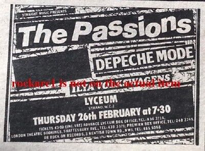 DEPECHE MODE / PASSIONS UK TIMELINE Advert - Lyceum Thurs-26-Feb-1981 2x3 inches