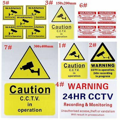 Warning CCTV Camera / Security Camera Stickers Signs Decals CCTV Recording Shop