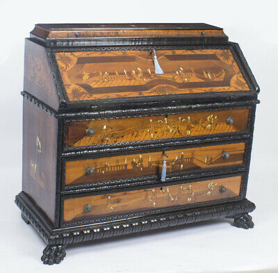 Antique Italian Renaissance Revival Fruitwood  Marquetry Bureau  18th C