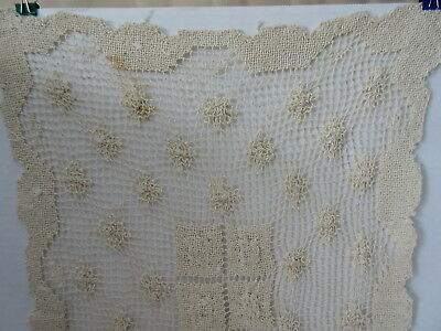 "Antique Crochet Ivory Color Table Runner 38"" Long"